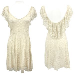 Urban Outfitters Cream Kimchi Blue Lace Dress
